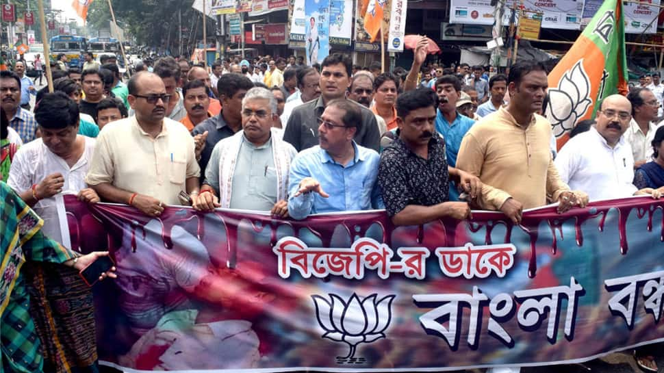 Sporadic violence during BJP's 12-hour Bandh in West Bengal, 1600 people arrested