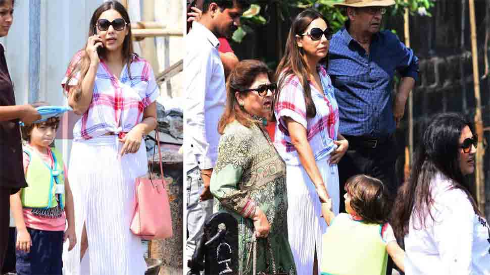 Gauri Khan clicked with son AbRam minus Shah Rukh Khan on birthday