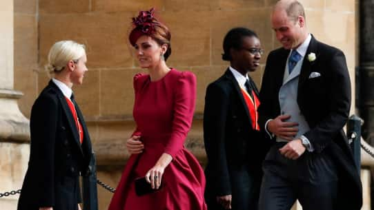 Holding their hats, guests arrive for 2018's second big UK royal wedding