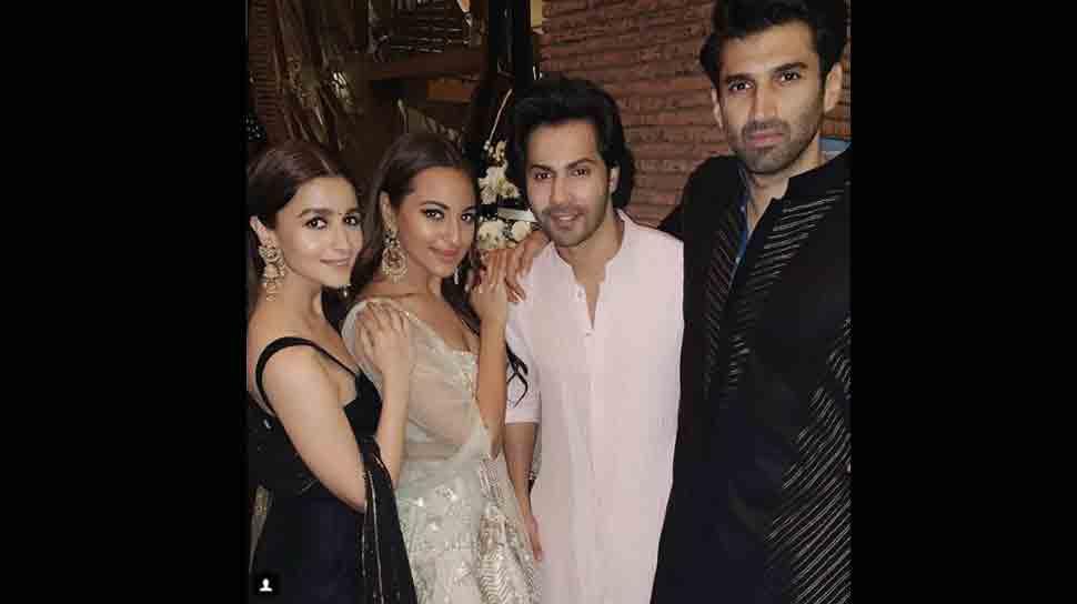 Sonakshi Sinha poses with Kalank co-stars Alia Bhatt, Varun Dhawan, Aditya Roy Kapur — Pic inside