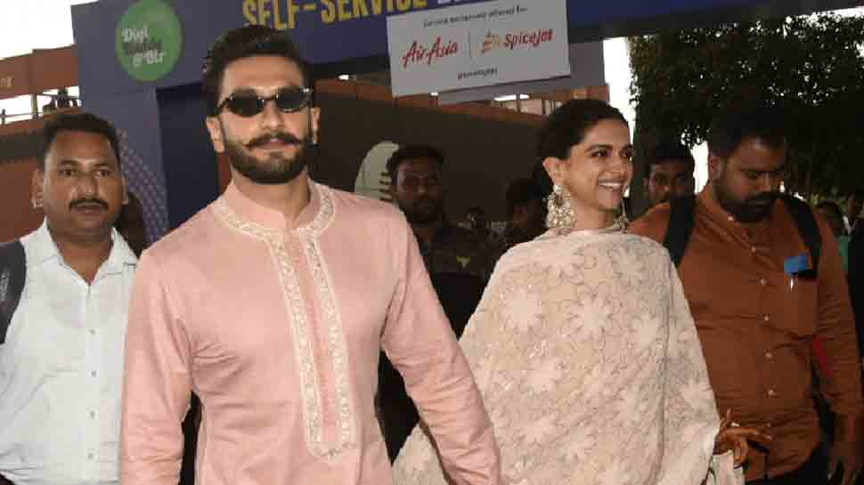 Ranveer Singh, Deepika Padukone twin in pink as they leave ...