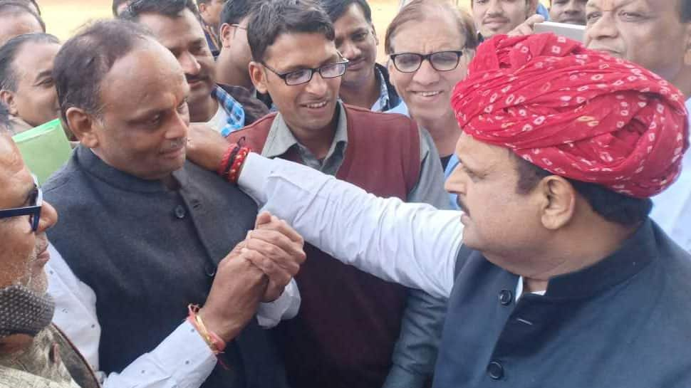 Rajasthan Assembly Election Results 2018: Congress' winning candidate Dr Raghu Sharma hugs losing BJP rival in Kekri