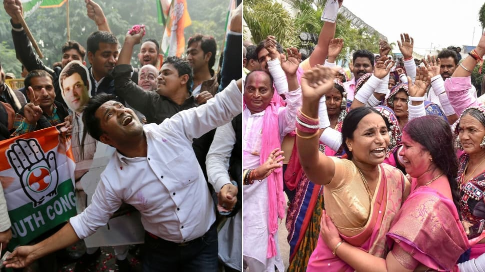 Congress wins Chhattisgarh, Rajasthan Assembly elections, single largest in Madhya Pradesh; TRS sweeps Telangana; MNF takes Mizoram