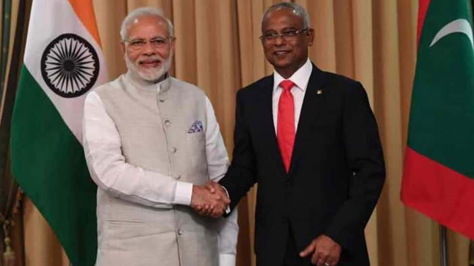 Maldivian President Solih arrives in India, to meet Maldivian community