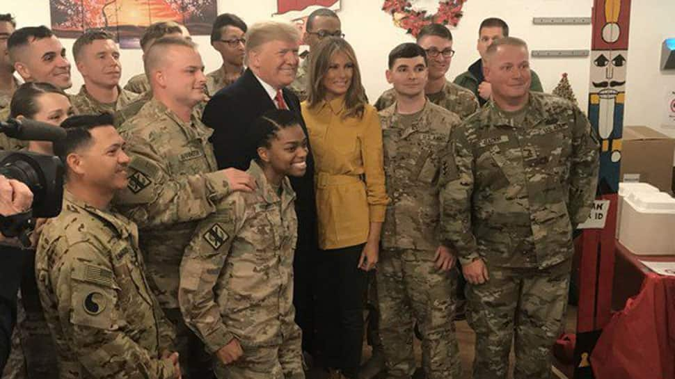 In a first, Donald Trump makes surprise visit to US troops in Iraq