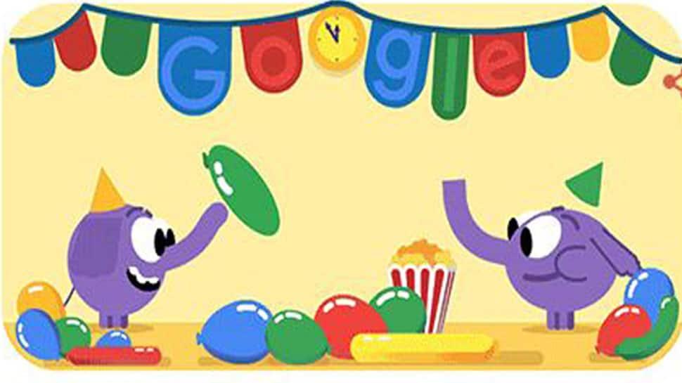 Google celebrates New Year's Eve with animated doodle