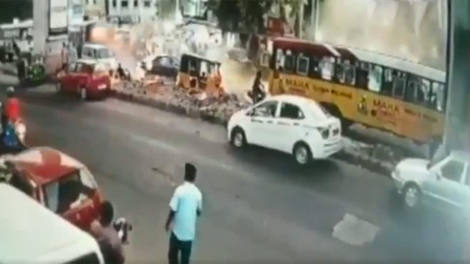 Caught on camera: 1 dead, 3 injured as bus runs over pedestrians, hits car, auto and two-wheeler in Secunderabad