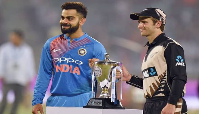 India vs New Zealand 2019: Captains of both teams pose with trophy ahead of ODIs