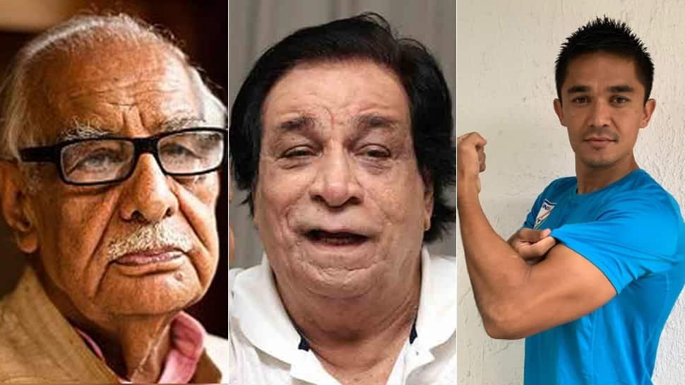 Kader Khan, Sunil Chhetri, Kariya Munda, Kuldip Nayar among others honoured with Padma Awards