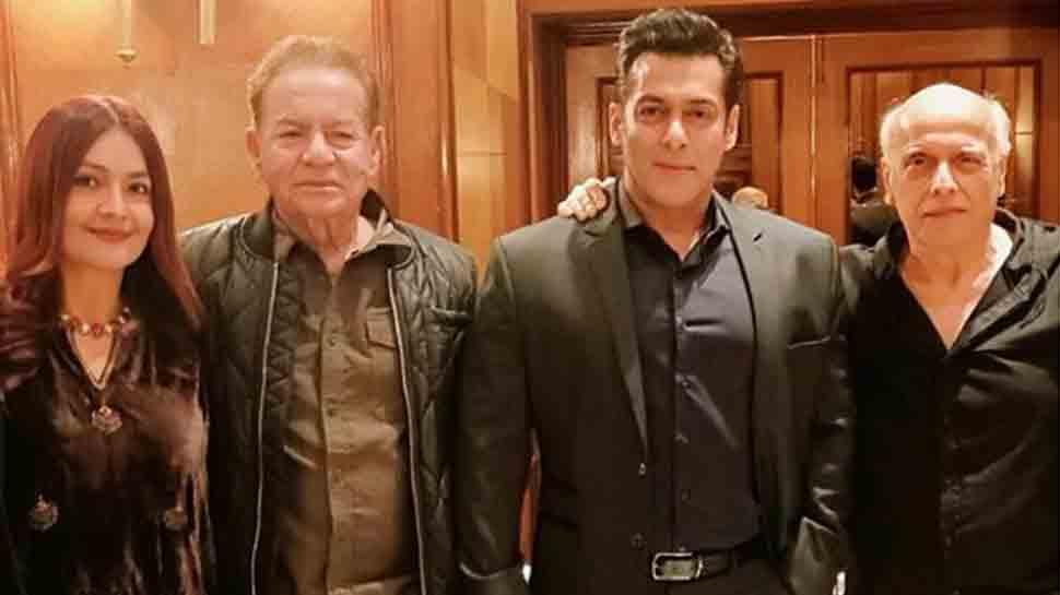 Salman Khan strikes a pose with his father Salim Khan at Mukesh Bhatt's daughter wedding reception