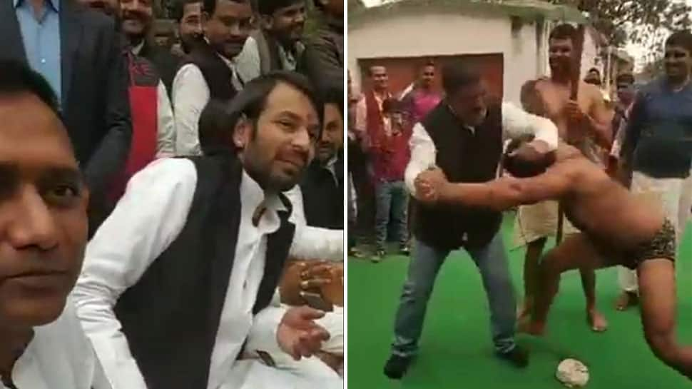 Tej Pratap Yadav turns RJD office in Patna into wrestling ring, organises 'dangal'