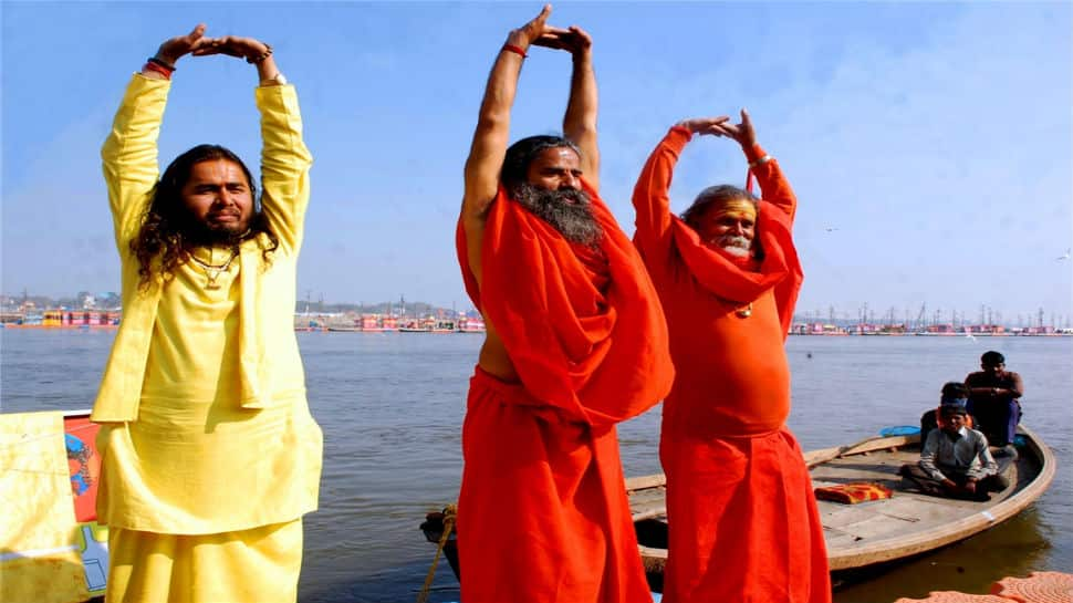 At Kumbh 2019, Ramdev urges sadhus to quit smoking