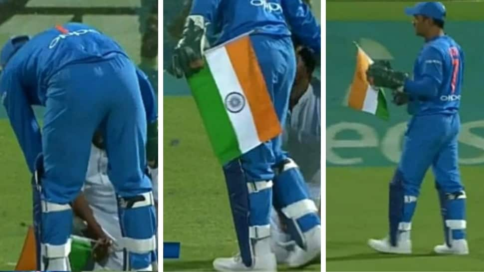 MS Dhoni prevents Indian flag from touching the ground as fan bows down, leaves Twitterati in awe - In pics