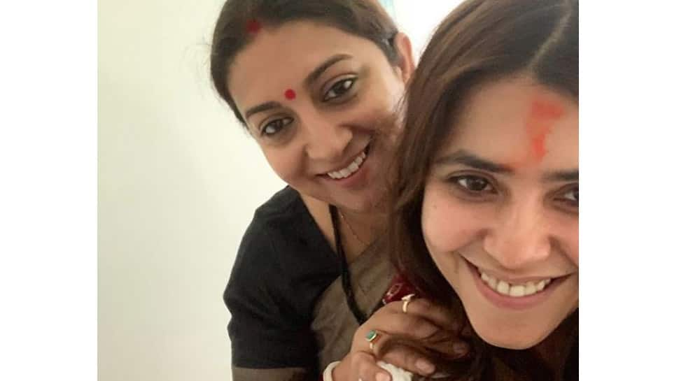 Ekta Kapoor shares a glimpse of her baby boy with 'maasi' Smriti Irani-See pic