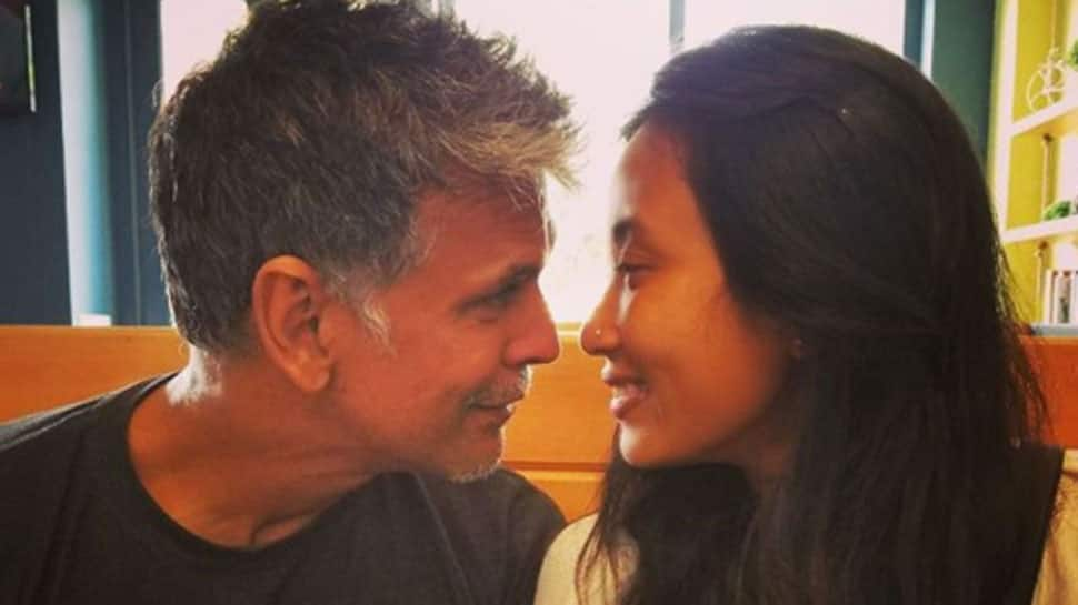 Milind Soman-Ankita Konwar celebrate kiss day with a passionate lip-lock—See pic
