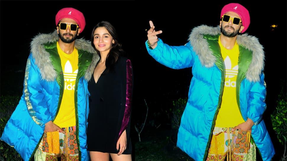 Ranveer Singh's eye-catchy neon avatar, Alia Bhatt's subtle black magic at Gully Boy Delhi promotions