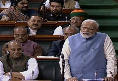 In his last Lok Sabha address, PM Narendra Modi takes a sharp dig at Rahul Gandhi