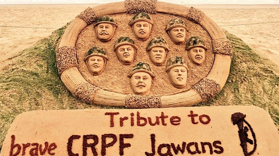 Awantipora terror attack: Sudarsan Pattnaik pays sand art tribute to CRPF martyrs