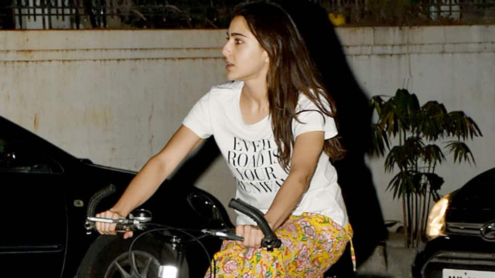 Sara Ali Khan enjoys a bicycle ride in Juhu—Pics