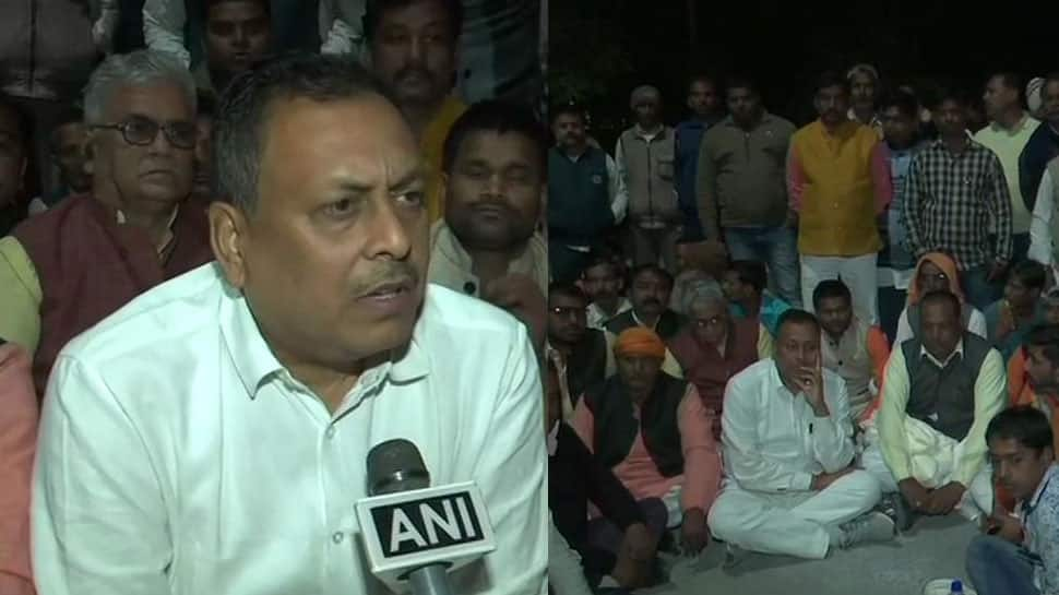 Did not protest against him, says BJP MLA Rakesh Singh Baghel who was thrashed by party MP Sharad Tripathi in UP