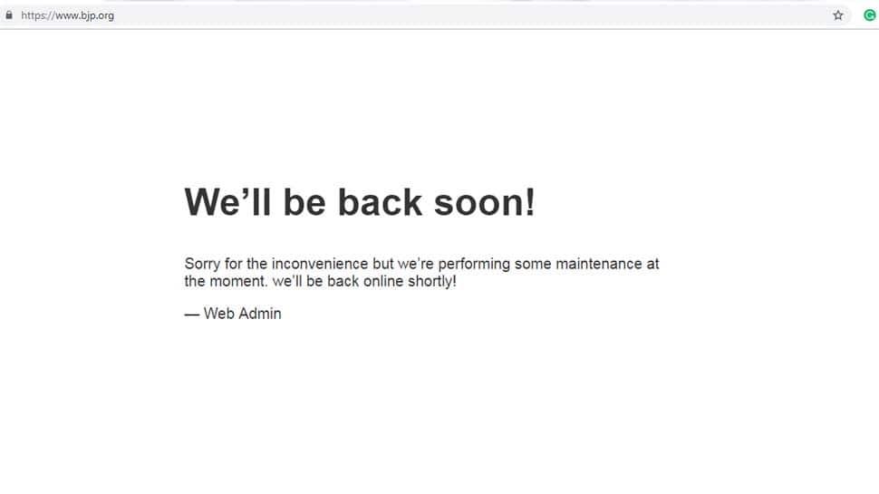 Hacked BJP website still in 'maintenance mode'
