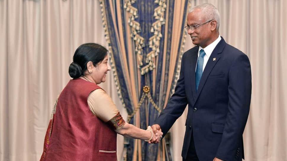 Sushma Swaraj meets Maldivian Home Minister Imran Abdulla, discusses bilateral ties