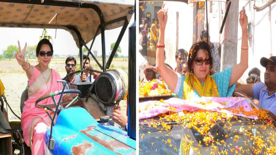 Hema Malini ditches Mercedes, climbs on tractor for Lok Sabha 2019 election campaigning