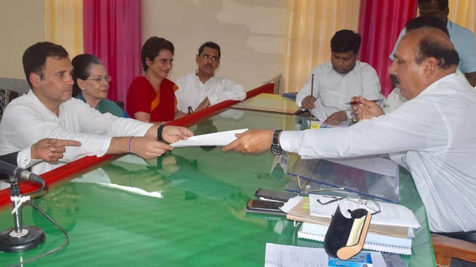 Rahul Gandhi, accompanied by Sonia, Priyanka and Robert Vadra, files nomination from Amethi