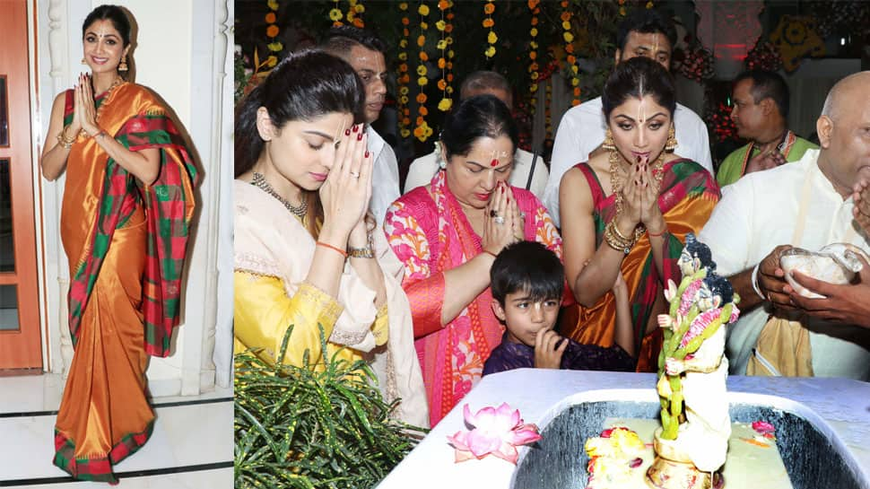 Shilpa Shetty visits ISKCON Temple with mother, sister Shamita Shetty and son—See pics