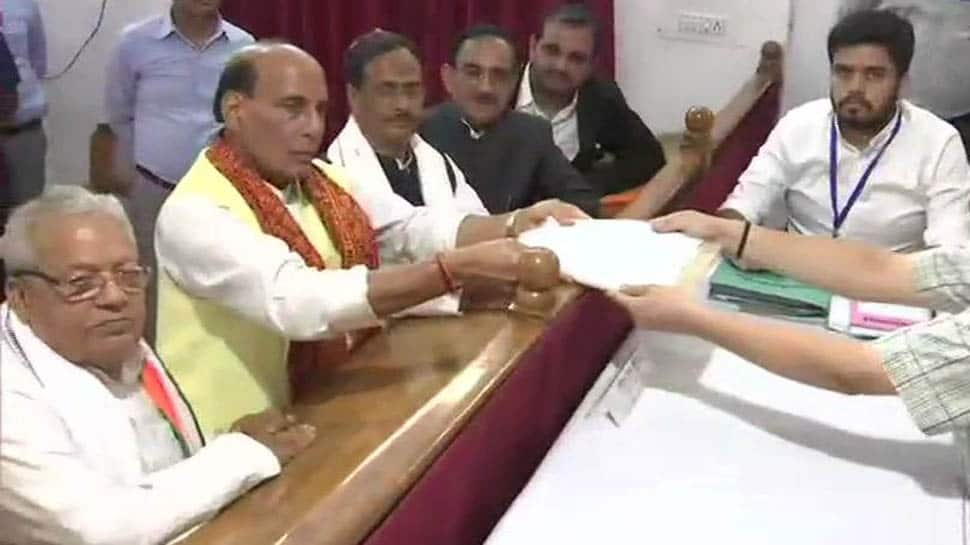 Union Minister Rajnath Singh files nomination from Lucknow constituency for Lok Sabha election