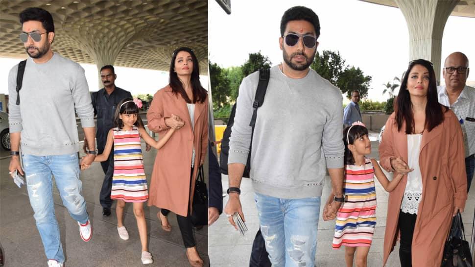 Abhishek Bachchan, Aishwarya Rai and Aaradhya spotted at airport—See pics