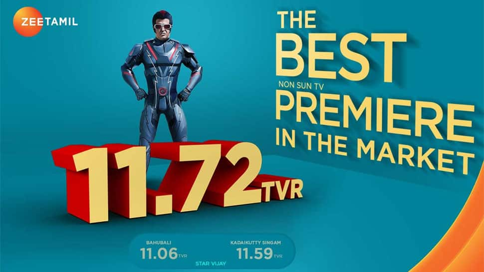 2.0 makes history as Zee Tamil's highest rated movie premiere; channel ranks as 7th most watched channel in the country