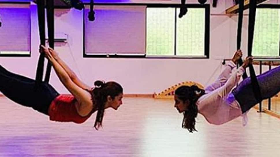 This picture of Alia Bhatt practising aerial yoga with Akansha Ranjan Kapoor will blow your mind!