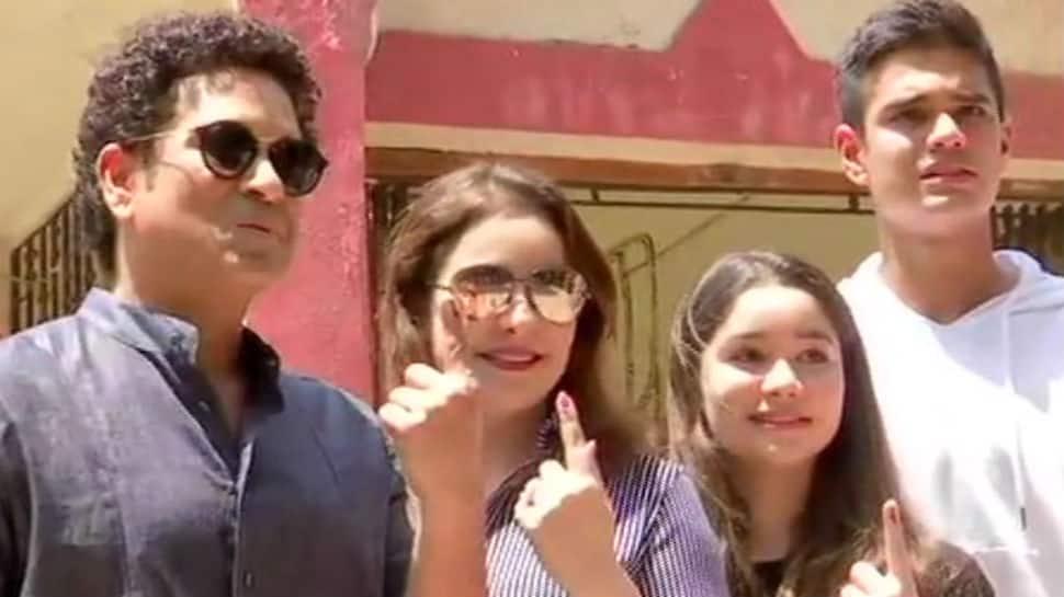 Sachin Tendulkar's children Sara and Arjun cast their votes for the first time