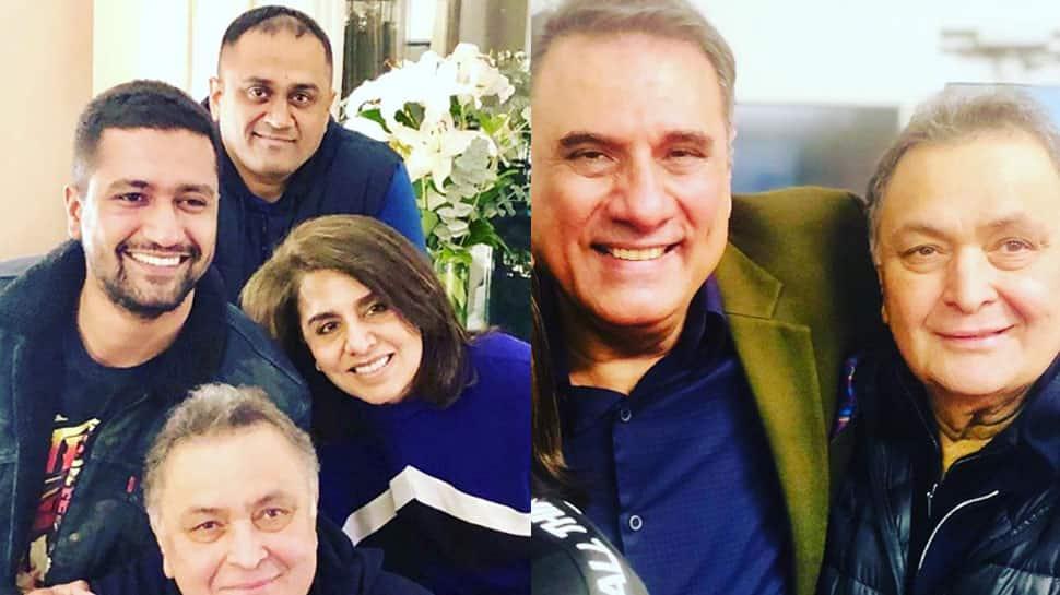 Rishi Kapoor and Neetu Kapoor happy to meet Vicky Kaushal, Boman Irani in NY