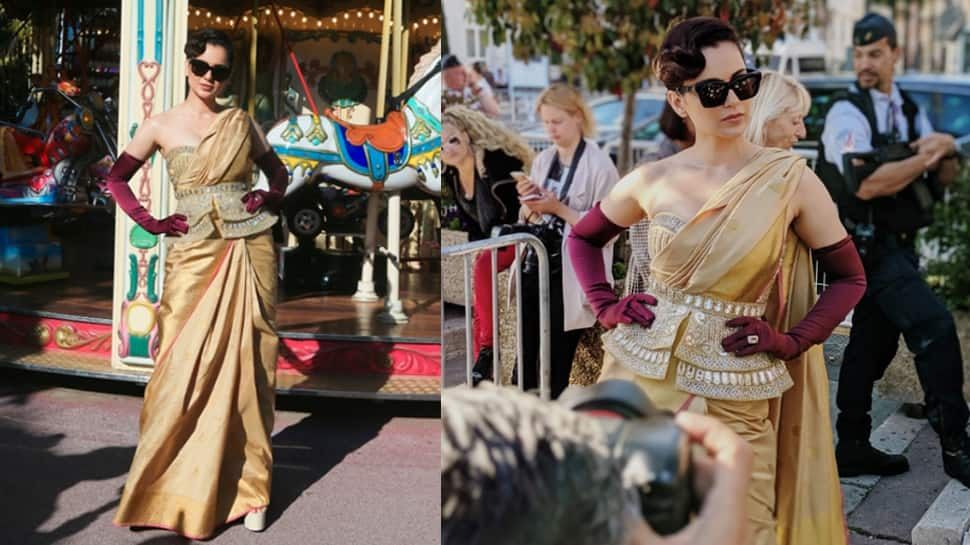 Kangana Ranaut slays her Cannes Film Festival look in a gold saree —Pics