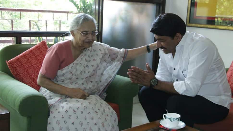 Manoj Tiwari meets Sheila Dikshit after winning by over 3.66 lakh votes in Lok Sabha election