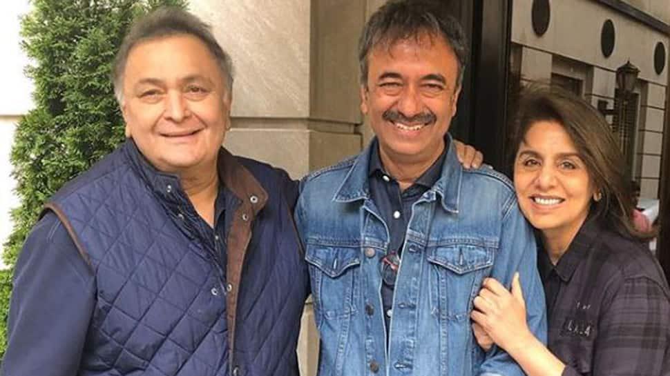 Rishi Kapoor, Neetu Kapoor discuss movies with Raj Kumar Hirani in New York