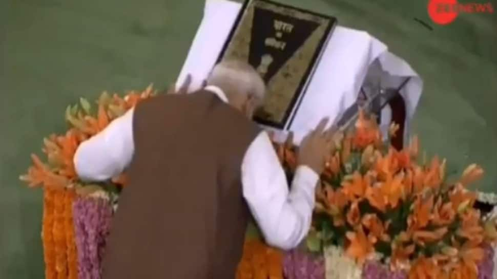 PM Modi bows in front of Constitution before addressing NDA parliamentary meeting