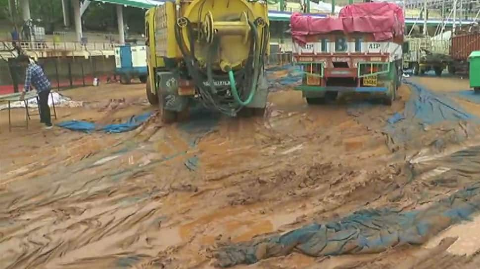 Heavy rains in Vijayawada affect venue for swearing-in ceremony of Andhra CM