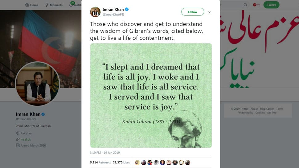 Pakistan PM Imran Khan goofs up again, attributes Rabindranath Tagore's quote to Khalil Gibran; Twitter tears him apart