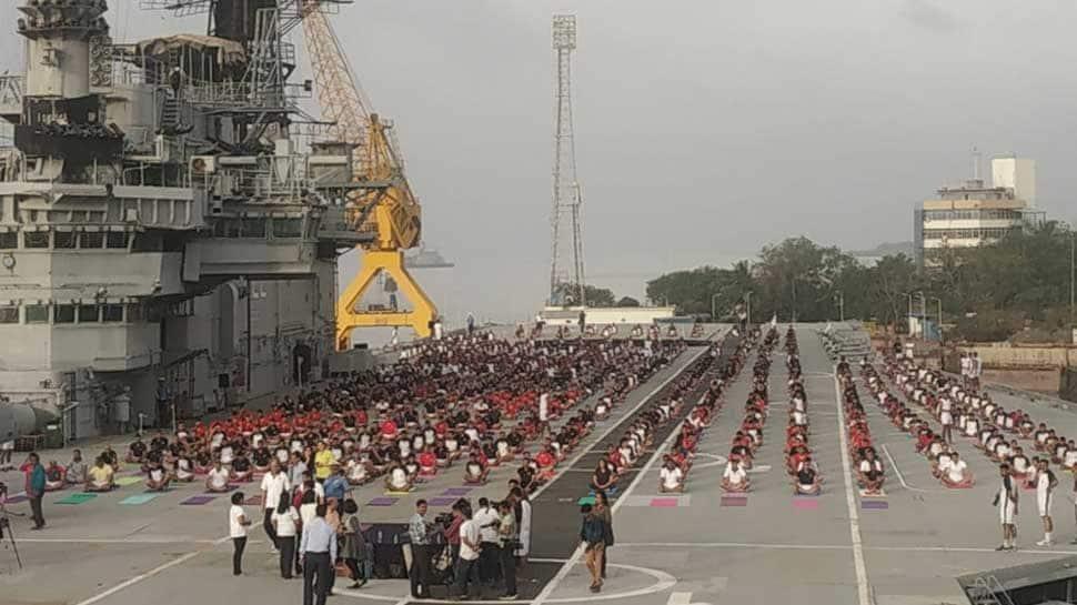 Western Naval Command celebrates International Yoga Day onboard INS Viraat