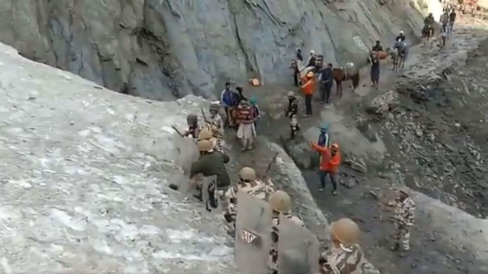Watch: ITBP personnel brave stones at snow slope to protect Amarnath Yatris