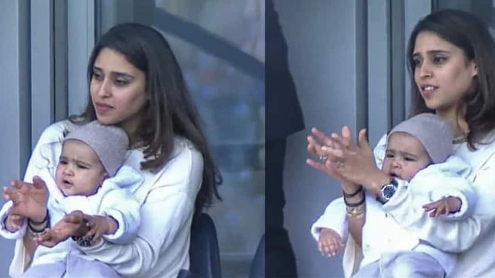Rohit Sharma shares wife Ritika's photo with daughter Samaira cheering for him from the stands