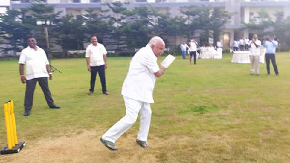 BS Yeddyurappa plays cricket with BJP MLAs at Bengaluru resort