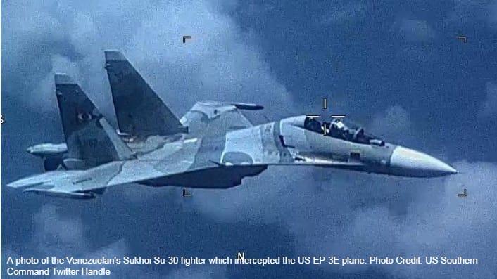 Venezuelan Air Force Sukhoi Su-30 fighter intercepts US EP-3E signals reconnaissance aircraft