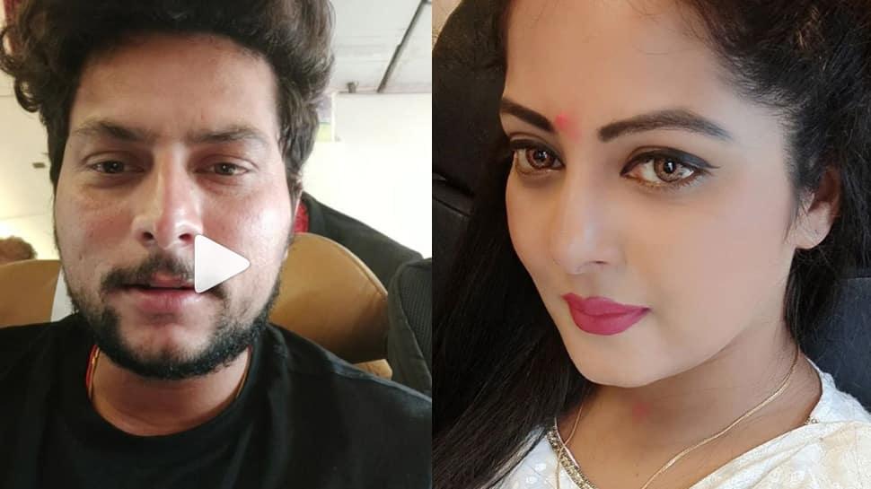 Kuldeep Yadav's birthday wish for Bhojpuri actress Anjana Singh in unmissable—Watch
