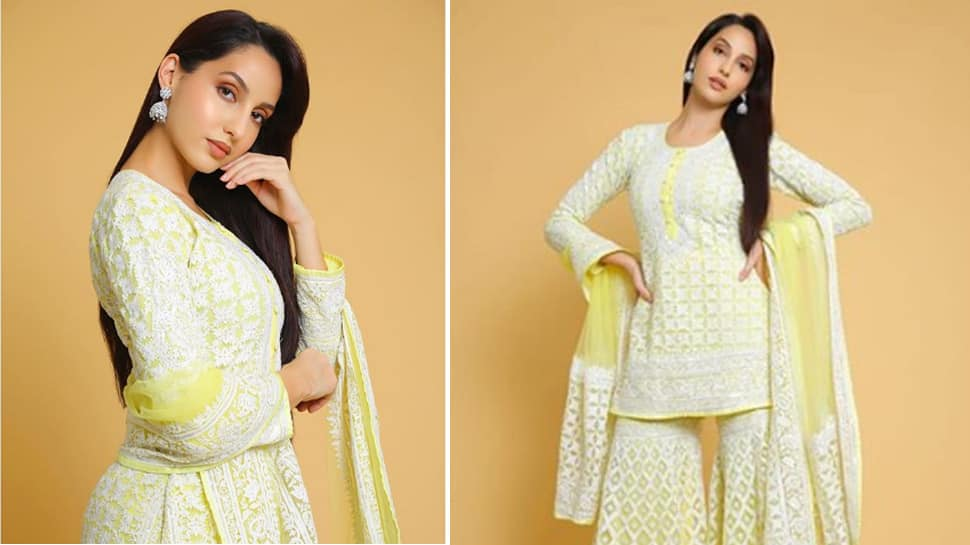 Nora Fatehi stuns in desi wear, wishes fans on Independence Day—Pics