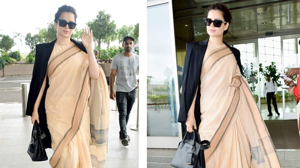 Kangana Ranaut's Rs 600 worth saree pic gets trolled, netizens ask what about Prada handbag?