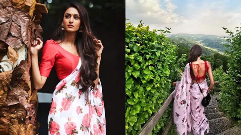 Erica Fernandes aka Prerna of 'Kasautii Zindagii Kay 2' sizzles in a floral saree—Photos